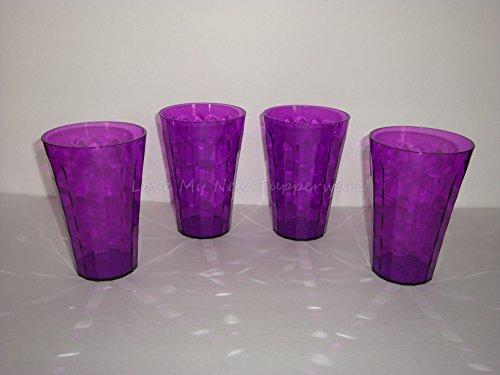 Tupperware Set of (4) Acrylic Ice Prism Tumblers Sheer Purple 16oz (Tupperware Tumblers Acrylic)