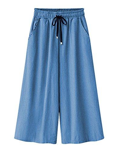 Mujeres Ancho Pierna Palazzo Pantalones Cintura Elástica Holgados Flojos Casual Capri Pantalon Harem Vaqueros Tallas Grandes Zarco /Longitud del tobillo