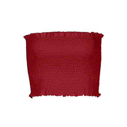 Pleated Bandeau - ShenPr Womens Strapless Pleated Summer Sexy Bandeau Tube Tops Crop Bra Lingerie Breast Wrap Mini Elastic Crop Tops (L, Red)