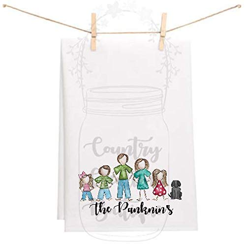 (Personalized Family Flour Sack Kitchen Towels, Personalize Flour Sack Towel, Mom, Dad, babies, girls, boys, dogs, cats, Kitchen Towel, Wedding, Gifts, Home Decor)