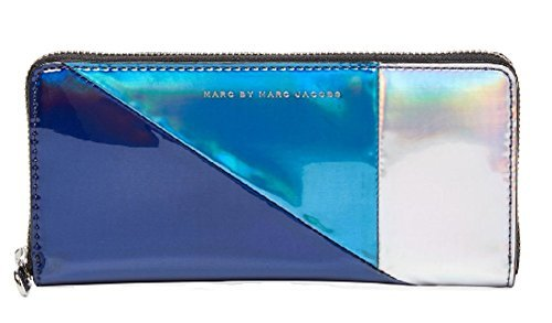 Marc by Marc Jacobs Space Techno Metallic Colorblock Slim Zip Around Wallet, Navy Metallic Multi