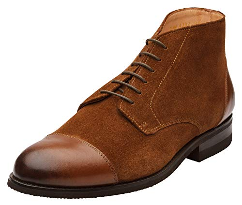 Dapper Shoes Co. Men's Classic Handcrafted Leather Cap Toe Suede Combination Oxford Boots ()