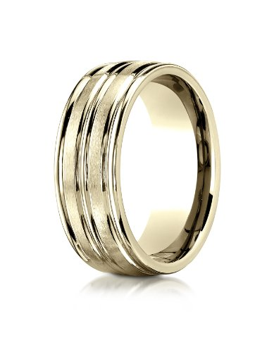 14k Yellow Gold 8mm Comfort-Fit Satin-Finished High Polished Center Trim and Round Edge Carved Design Wedding Band Ring for Men & Women Size 4 to 15