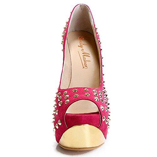 L@YC Zapatos De TacóN alto De Oro De Las Mujeres Suede Pescado De Tatuaje Impermeable Con Sandalias Finas Pink