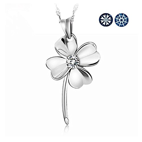 TOPSTARONLINE Large Four Leaf Clover Sterling Silver Pendant Necklace