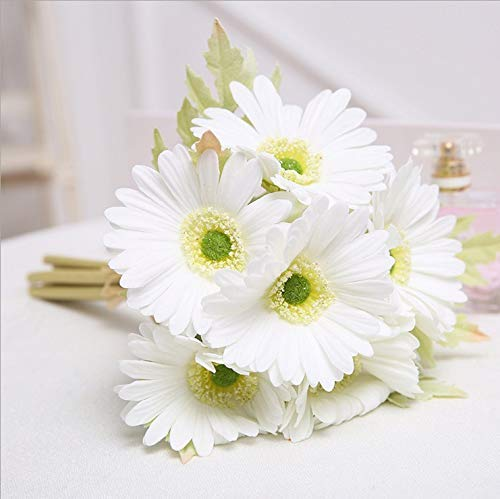 FRP Flowers Real Touch Latex 24 inch Gerbera Daisy for Bouquets, vase Arrangements, Home/Office Decor (Pack of 5) (White) ()
