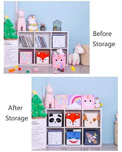 41%2Bpkm c1SL - (2 Pack) Furianne Foldable Toy Storage Cube Cloth Basket Bins Pink Sequin Fabric Unicorn Animal Cartoon Organizer For Nursery, Playroom, Closet, Shelf, Home