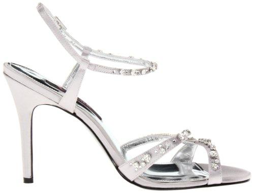 Nina Chimere Femmes Argenté Satin Chaussures Sandales Pointure EU 39,5