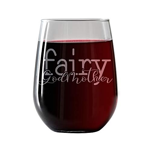 Fairy Godmother Engraved- Stemless Wine Glass 17oz- godmother gift from godchild invitations for baptism christening gifts. Includes Free food Pairing Card ()