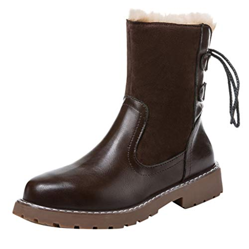 COPPEN Women Snow Boots Leisure Keep Warm Round Toe Shoes Low-Heeled Rear Tie ()