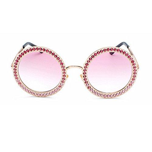 Con Hombres pink Strass TIANLIANG04 Gafas Sol Mujer De Gafas Tonos Vintage Sol Para Rosa De Redonda De Óculos CfCB4wq