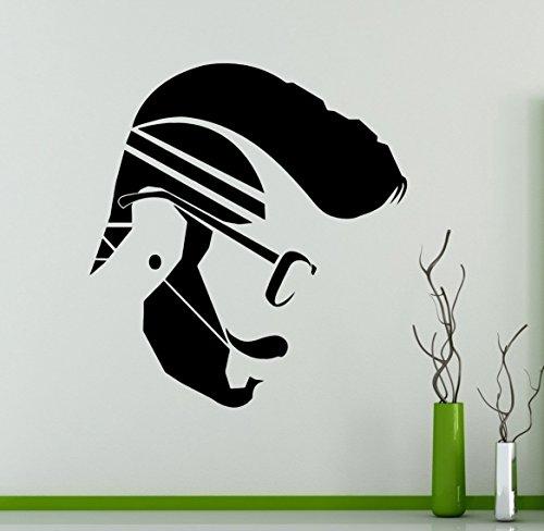 Man Hair Style Hipster Salon Wall Decal Beauty Salon Wall Vinyl Sticker Hair Care Wall Graphics Shop Window Sticker 3(hs)