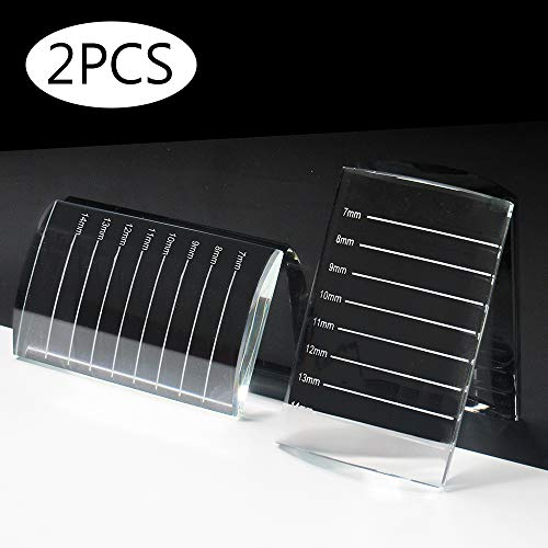 Lash Holder For Eyelash Extensions 2Pcs Professional Individual Eyelash Extension Tray Crystal Pallet For Eyelash (2PCS Glass Curved with number)