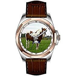 AIMS Christmas gift Mens gold Personalized Unique Fashion Design Waterproof Wrist Watch Aquebogue Painted Horse Wrist Watches