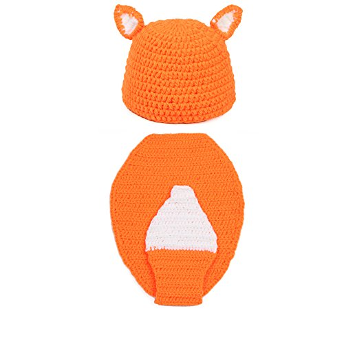 [Elee Baby Fox Handmade Crochet Knit Hat Cap Photography Props Warm Costume Set] (Baby Fox Costumes For Infants)