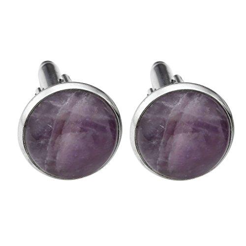 Color Stones Cufflinks - JOVIVI 2pcs Metal Semi Precious Gemstone Cufflinks Shirt Cuff Links Silver/Silver White Tone For Men Jewelry Gift