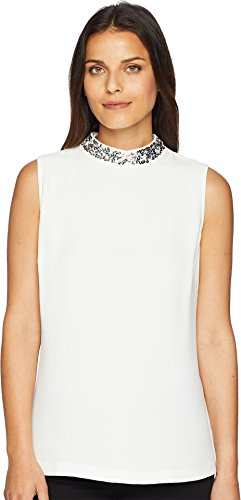 Tommy Hilfiger Women's Sleeveless Woven Pullover Top Ivory ()