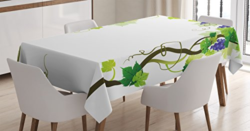 Ambesonne Grapes Home Decor Tablecloth, Vineyard with Swirled Leaf Fresh Fruit Garden Harvest Season Wine Growth, Dining Room Kitchen Rectangular Table Cover, 60 W X 90 L Inches, Green