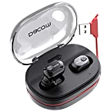 Bluetooth Headphones DACOM Wireless Earbuds with Microphone TWS V5.0 HD Stereo with Deep Bass Mini in-Ear Earphones with 1100mAh Backup Charging Case Built in Red Hidden Charging USB Cable for iPhone