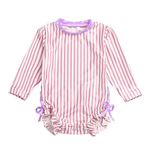 Long Sleeve Swimwear for Baby Girl Striped Dot Ruffle Crewneck Sun Protection Swimsuit (Watermelon Red, Recommend Age:18-24 ()