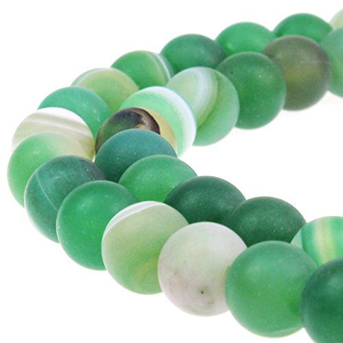 JARTC Natural Stone Beads Matte Green Stripe Agate Round Loose Beads for Jewelry Making DIY Bracelet Necklace (8mm)
