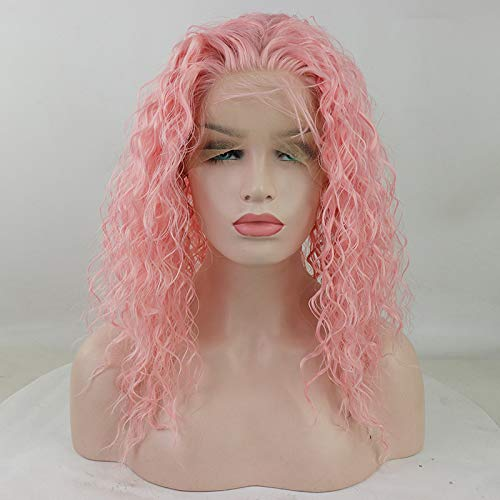 Candice Hair Synthetic Wig Lace Front Wigs Long Loose Curly with Baby Hair Natural Hairline Heat Resistant Fiber Lace Wigs Swiss Natural Pink Wig For Black Women 180 Density 14 Inch 2333 -