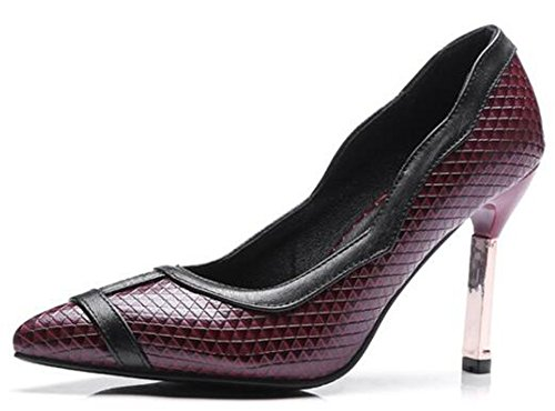 Idifu Womens Stylish Plaid A Punta Slip On Pumps Stiletto Tacchi Vino Rosso