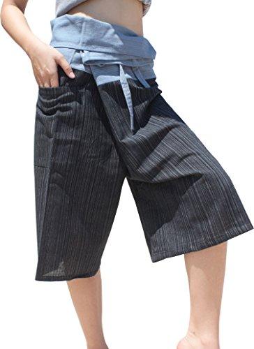 Raan Pah Muang Thin Striped Cotton Two Tone Fisherman Capri Wrap Pants, X-Large, Gray Blue - Black