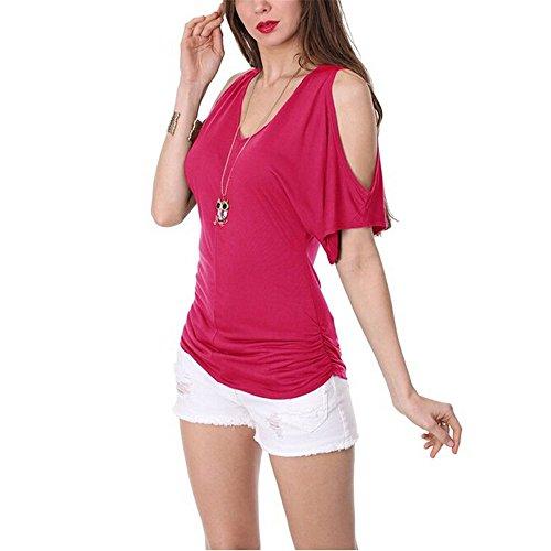 XMY Women s v-Ausschnitt Schultern Fünf Untergruppen langärmeliges T-Shirt  Die Rote oUyPkRRT bb18a1810e