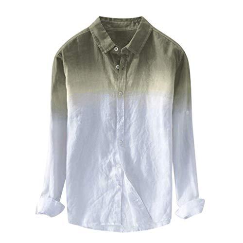 Linen Shirts for Men,SMALLE◕‿◕ Men's Summer Basic Collar Standard Fit Gradient Long Sleeve Linen Shirts Gray