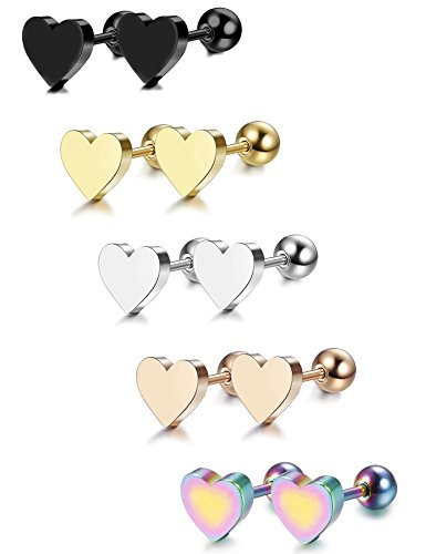 LOYALLOOK 5-6 Pairs Stainless Steel Heart Stud Earrings Barbell Piercing Studs for Women Men Teens ()