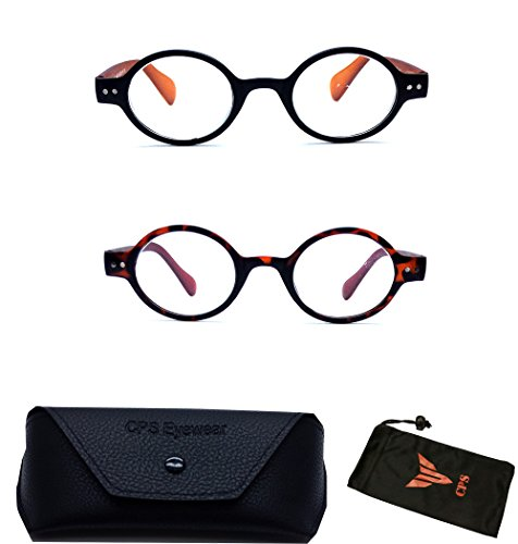 (#XK8598 Blk Brw) 2 PAIRS Unisex Men's Women's Retro Round Oval Plastic Reading Glasses with Black or Brown Color Frame Free Accessory ( Strength +1.00 - Glasses Reading Frame Round