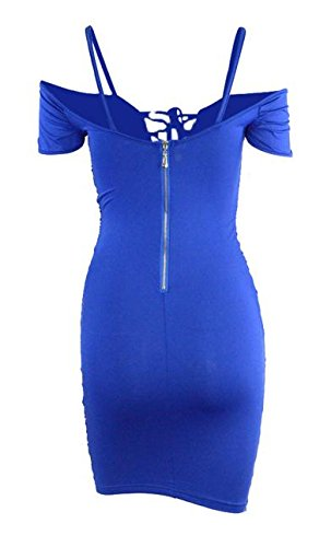 Ruched Shoulder Bodycon Lace Bandage Cruiize Dress Blue Up Womens Sexy Jewelry Off w4cW17q6