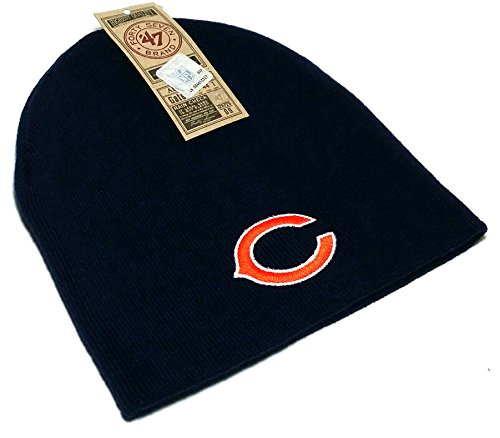Chicago Bears 47 Brand UnCuffed Knit Blue Cuffless NFL Skully Beanie Toque Hat Cap