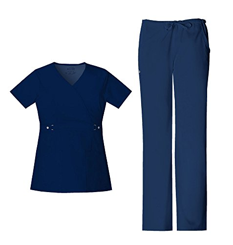 Cherokee Luxe Women's Empire Waist Mock Wrap Top 21701 & Women's Elastic Waist Drawstring Pant 1066 Scrub Set (Navy - Medium/Small Petite)