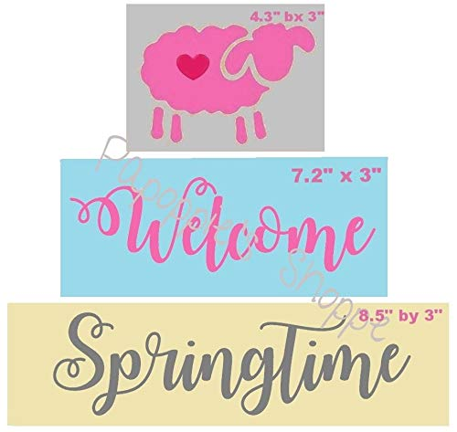 OutletBestSelling Stencil Welcome Springtime Script Font Lamb Sheep Primitive Blocks Sign ()
