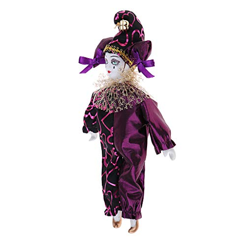 Prettyia Porcelain Dolls Teardrop Clown Doll Wearing Purple Outfits ()