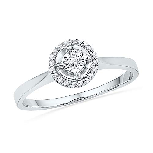 (Jewel Tie - Size 8 - Solid 10k White Gold Round Diamond Solitaire Halo Bridal Engagement Ring Wedding Band Set 1/12 Cttw. )