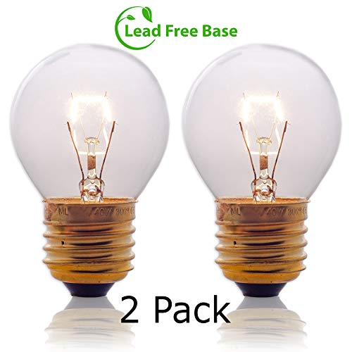 Oven Light Bulbs - 40 Watt Appliance Replacement Bulbs for Oven, Stove, Refrigerator, Microwave. Incandescent - High Temp G45 E26/E27 Socket. Medium Brass Lead-Free Base - 400 Lumens - Clear. 2 Pack
