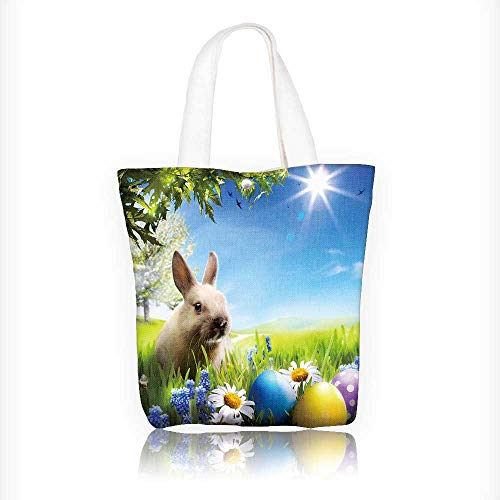 Canvas Shoulder Hand Bag art Little Easter bunny and Easter eggs on green grass Tote Bag for Women Large Work tote Bag Shoulder Travel Totes Beach Bag W11xH11xD3 INCH