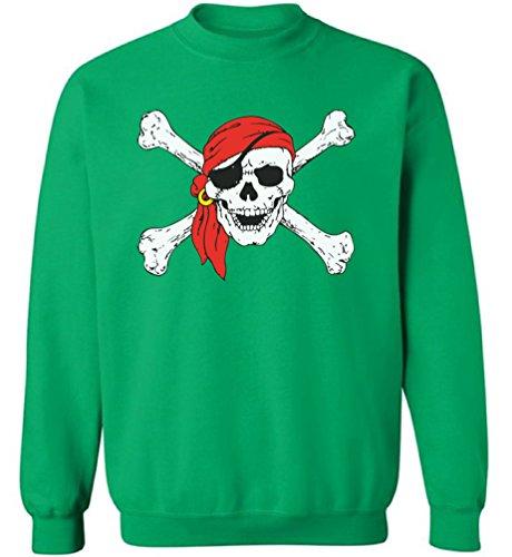 Pekatees Jolly Roger Skull Sweatshirts Unisex Jolly Roger Pirates Sweaters Green - Roger Jolly Sweatshirt