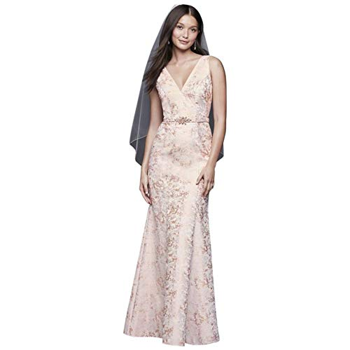 (V-Neck Jacquard Mermaid Gown with Beaded Waist Style 184659DB, Ivory, 2)