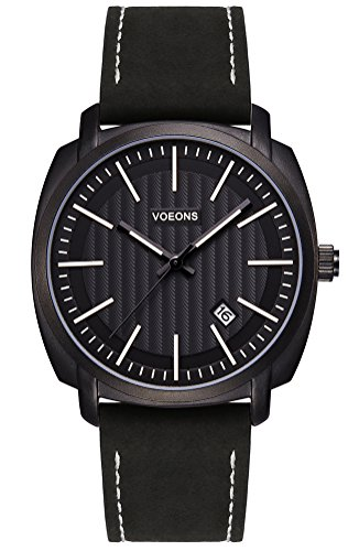 Voeons Men's Analog Auto Date Quartz Watch Genuine Black Leather Strap Waterproof Casual Watch