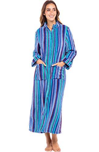 Alexander Del Rossa Women's Zip Up Fleece Robe, Long Warm Fitted Bathrobe