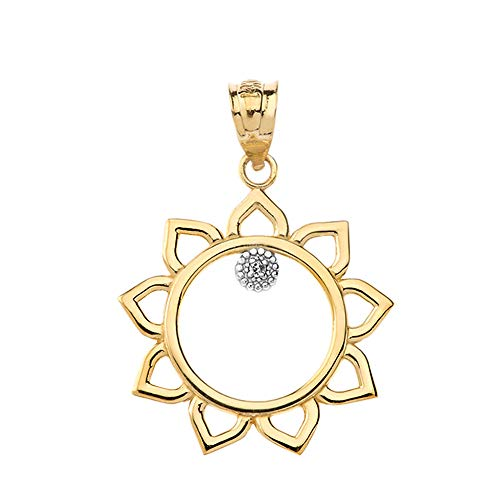 Exquisite 14k Gold Solitaire Diamond Outline Sunflower Floral Charm ()