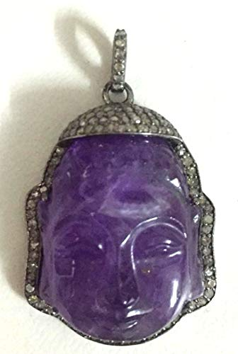 (925 Sterling Silver Diamond Amethyst Buddha Carved Face Figure Pendant Jewelry)
