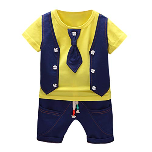 Apparel Layette (Newborn Outfits for Boys,Toddler Kids Baby Boys Waistcoat Tie T Shirt Tops Shorts Outfits Clothes Set,Baby Boys' Layette Sets Yellow)