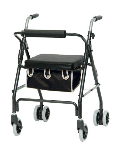 Push Down Brake Rollator (Rollator - Dark Blue Prime Rollator with Push Down Brake # Lightweight aluminum frame # Handles are adjustable for different heights # Removable front basket # 5