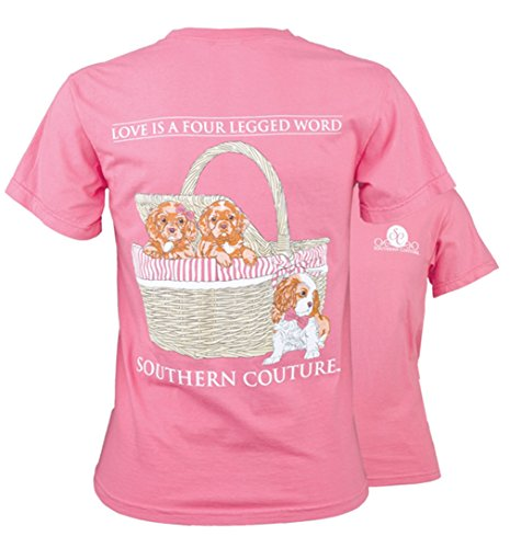 Southern Couture SC Comfort Puppy Love Is A Four Legged Word Womens Classic Fit T-Shirt - Peony Pink, 2X-Large