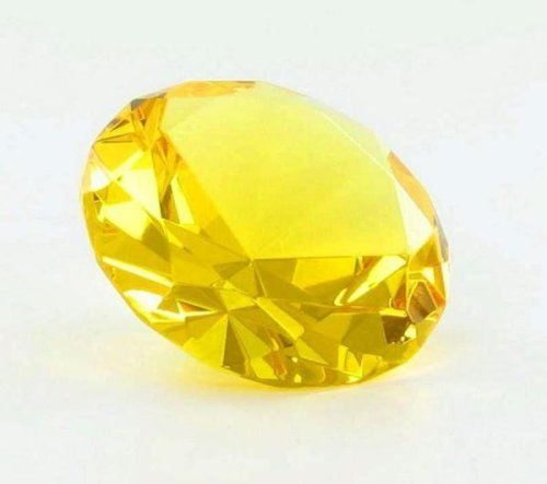 1 X Yellow Diamond Shaped Glass Paperweight Home Office by (Diamond Shaped Paperweight)